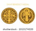 saint benedict medal gold | Shutterstock .eps vector #1013174320