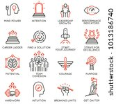 vector set of linear icons... | Shutterstock .eps vector #1013186740