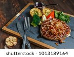 grilled beef steak cooked on...   Shutterstock . vector #1013189164