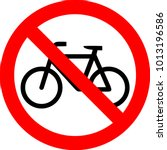 bicycle no road only sign... | Shutterstock .eps vector #1013196586