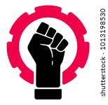 vector worker's fist as strike... | Shutterstock .eps vector #1013198530