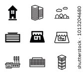 town icons. set of 9 editable... | Shutterstock .eps vector #1013204680