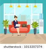 business woman working at her... | Shutterstock .eps vector #1013207374