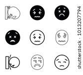 upset icons. set of 9 editable...   Shutterstock .eps vector #1013207794