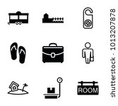 vacation icons. set of 9... | Shutterstock .eps vector #1013207878
