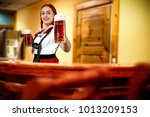young slim bavarian woman and...   Shutterstock . vector #1013209153