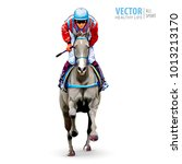 jockey on horse. champion.... | Shutterstock .eps vector #1013213170