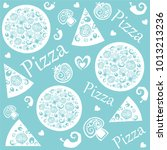 seamless pattern with pizza... | Shutterstock .eps vector #1013213236