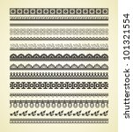 set of vintage lines on beige... | Shutterstock .eps vector #101321554