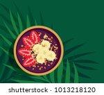 tropical acai smoothie bowl  ...   Shutterstock .eps vector #1013218120