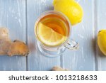 a cup of ginger tea with lemon... | Shutterstock . vector #1013218633