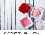 beauty products and roses on... | Shutterstock . vector #1013219326