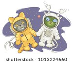 friendship on space  funny... | Shutterstock .eps vector #1013224660