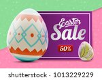 easter sale banner background... | Shutterstock . vector #1013229229