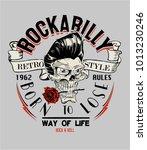 vector rockabilly skull... | Shutterstock .eps vector #1013230246