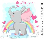 cute baby elephant  with hearts.... | Shutterstock .eps vector #1013241130