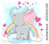 cute elephant  hand drawn... | Shutterstock .eps vector #1013241130