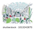 freehand sketch of interior of... | Shutterstock .eps vector #1013242870