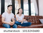 happy young couple relaxing and ... | Shutterstock . vector #1013243680