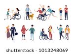 collection of disabled people... | Shutterstock .eps vector #1013248069