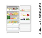 modern refrigerator with opened ... | Shutterstock .eps vector #1013262310