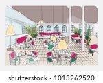 colored hand drawn restaurant... | Shutterstock .eps vector #1013262520