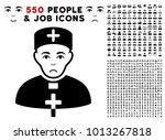 unhappy priest doctor...   Shutterstock .eps vector #1013267818