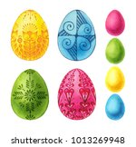 set easter eggs watercolor... | Shutterstock . vector #1013269948