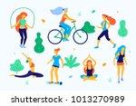 women walking in the park...   Shutterstock .eps vector #1013270989