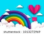 heart shape pink hot air... | Shutterstock .eps vector #1013272969