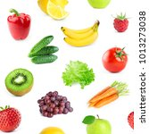 collection of fruits and... | Shutterstock . vector #1013273038