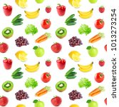 collection of fruits and... | Shutterstock . vector #1013273254
