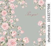 Stock photo watercolor background of a branch of a rose 1013277508