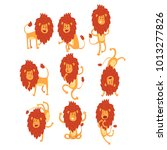 set of funny african lion in... | Shutterstock .eps vector #1013277826