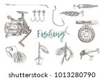 vector fishing tackle isolated... | Shutterstock .eps vector #1013280790