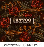 Stock vector weapon with roses tattoo seamless pattern design of textile texture 1013281978