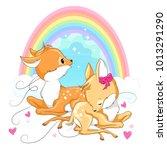 cute baby deers with rainbow... | Shutterstock .eps vector #1013291290