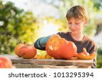 little boy carving a pumpkin... | Shutterstock . vector #1013295394