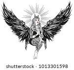 neo getto praying virgin mary.... | Shutterstock .eps vector #1013301598