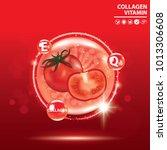 tomato collagen vitamin droplet ... | Shutterstock .eps vector #1013306608