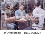 my point. appealing pleased... | Shutterstock . vector #1013308324