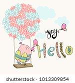 card with cartoon owl on a... | Shutterstock .eps vector #1013309854