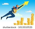 bitcoin super hero flying to...   Shutterstock .eps vector #1013310520