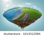fantasy island floating in the... | Shutterstock . vector #1013312584