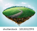 fantasy island floating in the... | Shutterstock . vector #1013312593