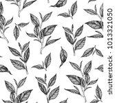 tea leaf seamless pattern. hand ... | Shutterstock .eps vector #1013321050