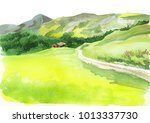 Alpine Scenery. Watercolor...