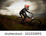 young man riding a mountain... | Shutterstock . vector #101333893