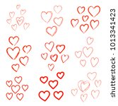 set of vector hand drawn hearts | Shutterstock .eps vector #1013341423