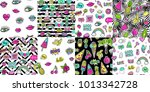 hand drawn fashion patches... | Shutterstock .eps vector #1013342728